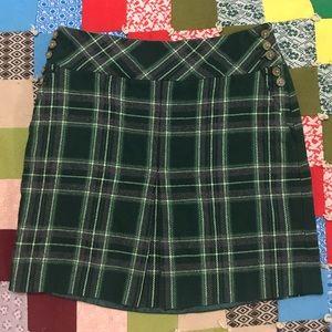 🐍Slytherin🐍 Green Ann Taylor Petites Plaid Skirt